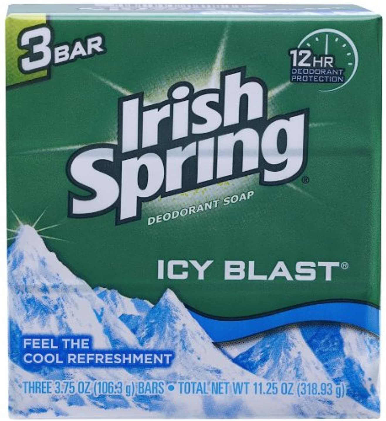 制限レモン唯一Irish Spring IcyBlast Cool Refreshment Deodorant Soap 113 g 3-Count Soap by Irish Spring