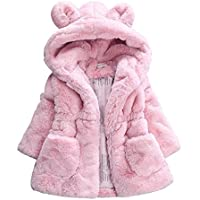 COODIO Winter Baby Kid Girls Jackets Cute Bunny Ear Warm Thick Hooded Coat Princess Clothes