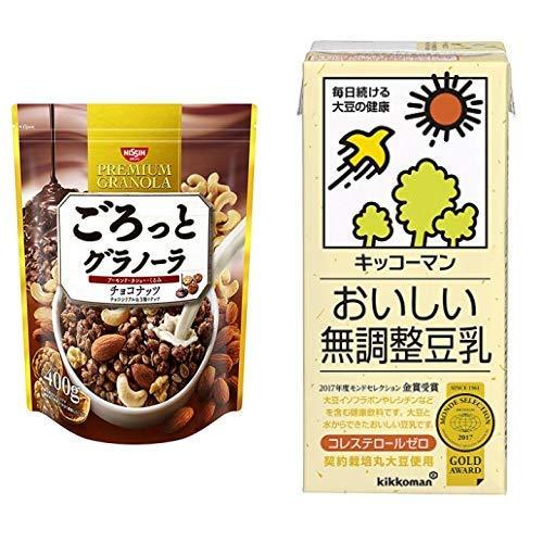 【セット買い】ごろっとグラノーラチョコナッツ400g 400gX6袋 + キッコーマン飲料 おいしい無調整豆乳 1L×6本