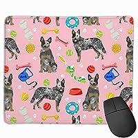 オーストラリアの牛の犬のおもちゃ - 犬のおもちゃ、犬、犬の品種、牛の犬 - ブルーヒーラー - ピンクマウスパッド 25 x 30 cm