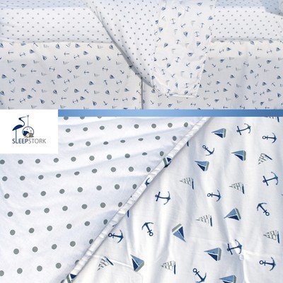 SleepStork Baby Crib Bedding Set: 4-Piece Nautical Nursery Set of Baby Quilt + Organic Jersey Fitted Crib Sheet + Crib Skirt + Diaper Stacker| Stylish Nursery Baby Bed Set| Top Gifting Idea