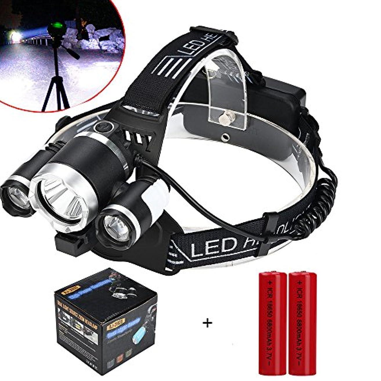 間違えた一緒ええTangQI ヘッドライト ヘッドランプ LED 3x XM-L T6 LED+2LED 充電式 2 x 18650バッテリー3.7v セット 5モード 超強力 軽量 アウトドア ズーム可能 作業 夜釣り 工事 自転車 船検用品 停電対応 防水