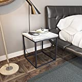 Roomfitters Side End Table Marble Print Top Metal Frame Industrial Living Room Square Chairside Table,White End Table