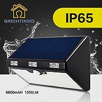 ブラックボディ、暖かいライト: LEDソーラーライト66led 9600mAh高輝度1350lm緊急屋外照明ガーデンLED Street ip65ランプLuminariaライト