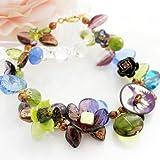 Atelier de Montsalvy(アトリエ ド モンサルヴィ) 花模様のボヘミアンガラスとシカ柄マザーオブパール(真珠母貝)の ブレスレット