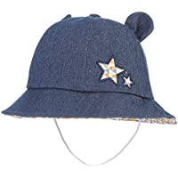 GEMVIE 子供 ベビー キッズ バケットハット シェードハット 星飾り 帽子 ハット デニム帽子 日よけ 男女兼用 遮光ハット アウトドア 可愛い チャコール