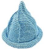 【Yuson Girl】折りたためる 麦わら帽子 風 とんがり帽子 エコアンダリア を使った 軽くて かわいい 手編み 帽子 (スカイブルー)