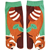 Cute Animal Women's Ankle Socks Japanese Tabi Split Toe style - Lesser Panda