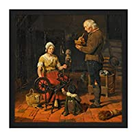 Kruseman Peasant Family In Their Cottage Painting Square Wooden Framed Wall Art Print Picture 16X16 Inch 家族ペインティング木材壁画像