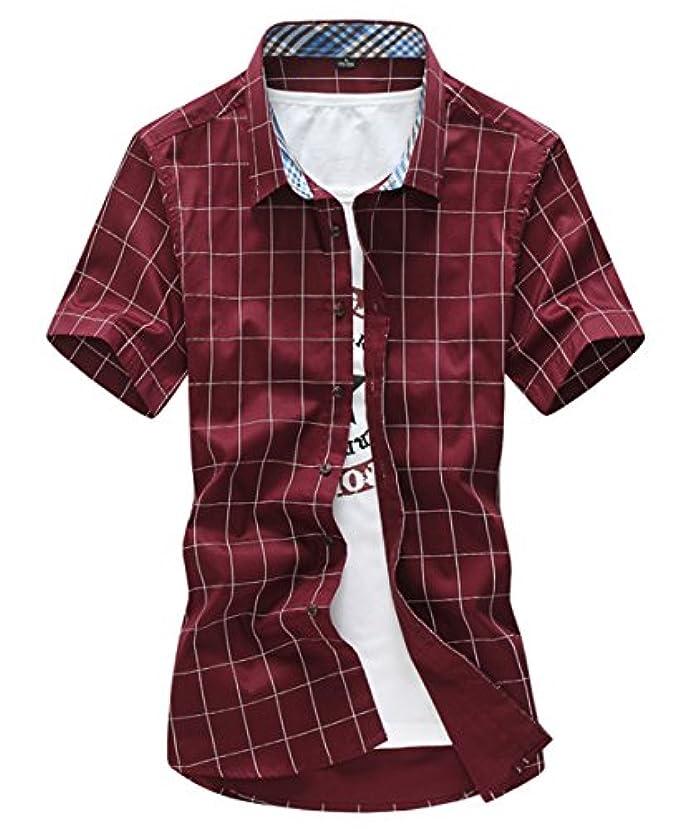 サミットおめでとう優雅[スゴフィ]SGFY  メンズ ポロシャツ チェック柄 カジュアル シャツ ゴルフ ウェア (XL, レッド)