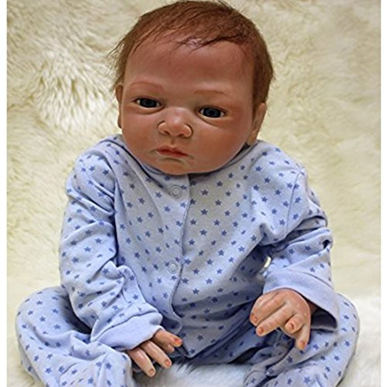 (Blue) - NPK Handmade Reborn Baby Doll Soft Vinyl Silicone 50cm Magnetic Mouth Baby Doll (blue)