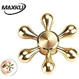 MaxKu ハンドスピナー Hand spinner Fidget Spinner Toy 高速回転 新型DIY 指スピナー 純銅製 6枚翼リムーバブル おもちゃ ストレス解消 3-7分回転可 フォーカス玩具 大人も子供も適合 ゴールド