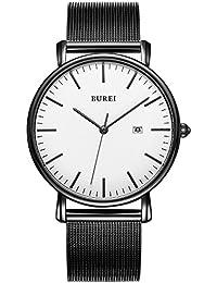 BUREI(バオショ) 腕時計 メンズ シンプル 薄い レジャー メッシュバンド 高品質 アナログ ウォッチ (ホワイト) [並行輸入品]