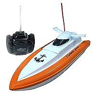 XYL Store F1高速RCボートリモートコントロール電動ボート - オレンジ色(水中でのみ作動)