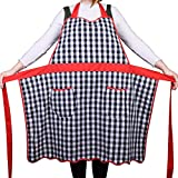 Love Potato 100% Cotton Vintage Gingham Kitchen Apron with Two Pockets, Small to Plus Size Ladies, Great Wife or Ladies