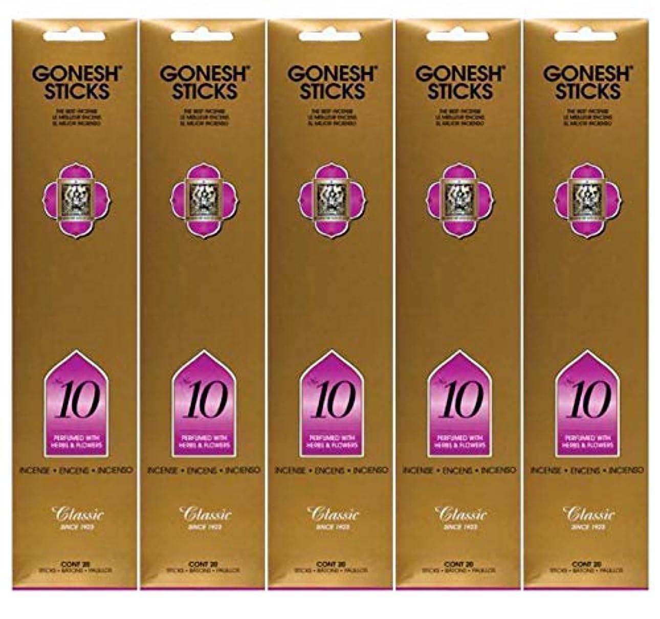 Gonesh Incense Sticks Extra Richコレクション – Number # 10 – 5パック(合計100 )
