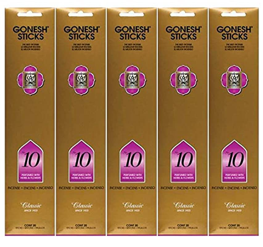 回転する圧縮する省Gonesh Incense Sticks Extra Richコレクション – Number # 10 – 5パック(合計100 )