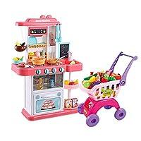遊ぶキッチンキッズキッチンクッキングセットキッチンセットパズル子供のおもちゃバービーキッチンプレイセットおもちゃ3年以上昔の子供のためのギフト ( Color : PINK , Size : 48*20*74CM )