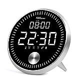デジタル 目覚まし時計 FIBISONIC 置き時計 大音量 アルミ合金制 LEDライト カレンダー アラーム5組 スヌーズ タイマー 動態秒針 静音 USB充電 一鍵設定 コンパクト かわいい 自然音 輝度自動調節 インテリア プレゼント シルバー枠