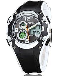 OHSEN 腕時計 キッズ スポーツ アナデジ表示 LCDバックライト 日付曜日 ストップウォッチ アラーム 30M防水 ブラック ホワイト