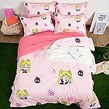 WX&QIANG 3D Print Japan Anime Pretty Girl Bedding, Sailor Moon: Tsukino Usagi Duvet Cover Set, for Otaku 3pcs Sets Bedding Se