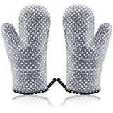 Kingmil Heat Resistant Silicone Kitchen Cooking Oven Mitts Set of 2 Baking Mittens with Cotton Linings