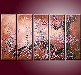 DecoArts 5枚組おしゃれな油彩画インテリア 壁掛けの絵画 和風 和柄 和モダン オリエンタルテイスト絵画 油絵 梅・桜 の和モダン絵画 アート 壁掛け】和風 和柄の絵画 リビング 和室の壁にオフィス ホテルに飾る ディスプレイ インテリア (W 30cm*H90cm*5枚)