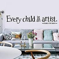 ウォールステッカー - 新しい英語全ての子供は芸術家のパターンのステッカー子供部屋彫刻の壁のステッカー防水、非フェード、紫外線耐性 子供部屋 ウォールステッカー 刻まれた キャラクター すべての子供は芸術家です
