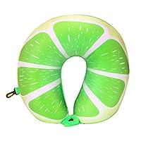 BOLUORY ネックピロー 旅行用 U型枕 低反発 持ち運びやすい トラベル 携帯枕 飛行機 バス オフィス 自宅用 (グリーンレモン)