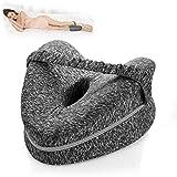 Memory Foam Wedge Leg Pillow with Elastic Leg Strap Washable Cover Grey