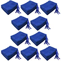 Lovoski 50 Pieces Bulk Blue Velvet Drawstring Jewelry Storage Pouch Gift Bags 5x7cm