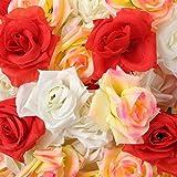 D-drempating 造花 バラ 8センチ 手作り ローズ 50個 セット パーティー ウエディング 結婚式 誕生会 二次会 (ホワイト25個 ピンク15個 レッド10個)pa052