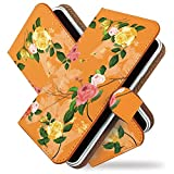 KEIO ケイオー isai LGL22 カバー 手帳型 フラワー 花 LGL 22 手帳 花柄 バラ isai ケース LGL22 ケース シノワズリ ローズ オレンジ イサイ 手帳型ケース ittnシノワズリローズオレンジt0188