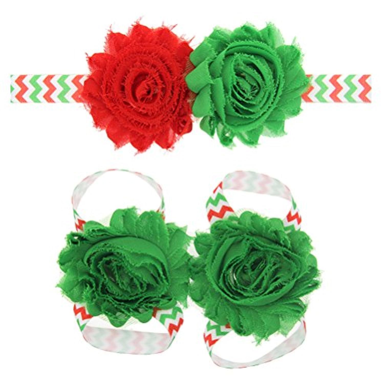 Zhhlaixing ベビー小物 Kids Baby Girls Soft Elastic Flowers Headband Hairband Hair Accessories&Foot Ring for Christmas 5125