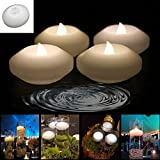 Wax LED Floating Candles - 4Pcs Wax Waterproof Candle Tea light Flameless Battery Operated Floating On Water LED Floating Candles For Wedding ,Restaurant Decoration & Candlelight Dinner (Wax Lily White)