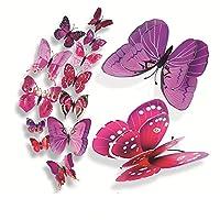 Tovadoo ウォールステッカー 磁石タイプ 12枚セット 3D 蝶々 パープル 可愛い おしゃれ 冷蔵庫 インテリア リフォーム 模様替え