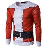 Duglo メンズ クリスマスコスプレ 長袖 Tシャツ 3Dプリント サンコスチューム おもしろ おしゃれ カジュアル トップス (M, レッド)