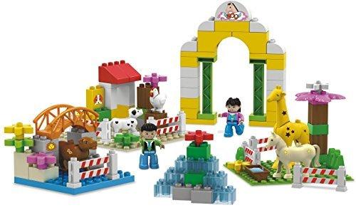 Funny Zoo - big 95 pcs building blocks Zoo garden set with horse, giraffe, water fountain, dog, hen, lion den, trough, rabbit and happy friends - 3+ kids love it in Lego Duplo compatible parts [並行輸入品]