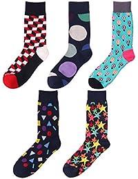 DEBAIJA 靴下 コットンソックス チューブ 抗菌 防臭 快適 通気性 カラフル おしゃれ 面白い メンズ 5足セット