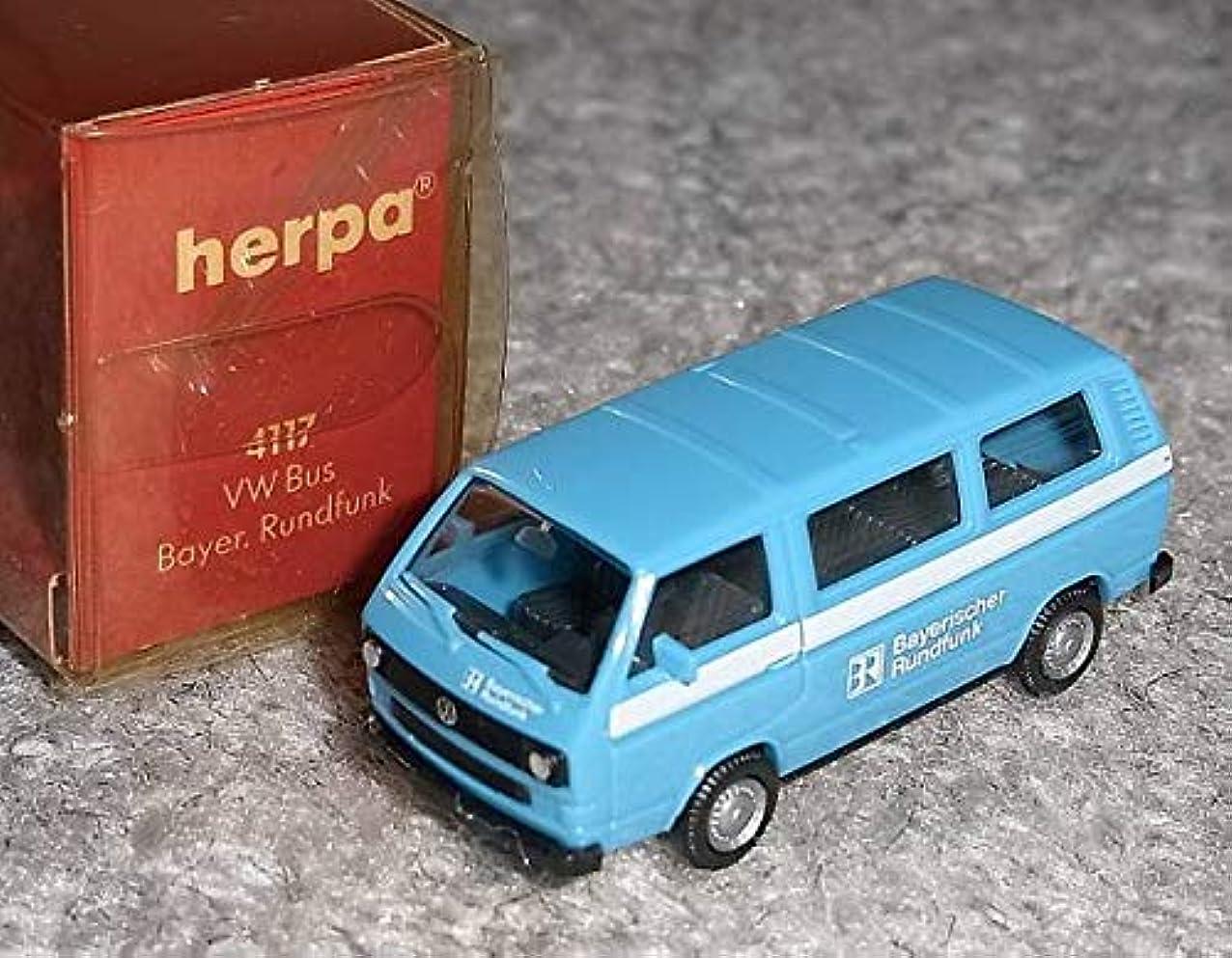 ナットベギン干渉する1/87 VW BUS Bayer Rudfunk バス 青白 ミニカー