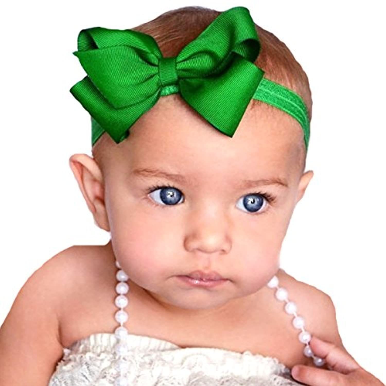 miugle Baby Girl 's伸縮性ヘッドバンドwith Bigリボン、グリーン、14