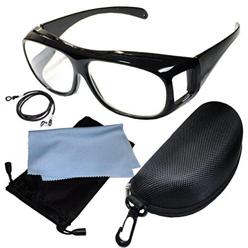 (ジャパナイス)JapaNice 両手が使える メガネ型 拡大鏡 1.6倍 ルーペ グラス 5点セット BO025-2 (ブラックフレーム)