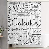 数学幾何学オタク微積分プリントシャワーカーテン防水洗えるポリエステル生地60 x 70インチフック付きバスルームの装飾セット