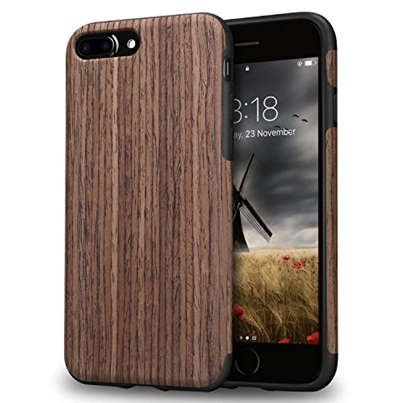 口径時代意外TENDLIN iPhone8  Plus ケース / iPhone7 Plus ケース 天然木層とTPUソフトケース 薄型 軽量 ワイヤレス充電 アイフォン8 Plus アイフォン7 Plus カバー (黒いバラ)