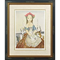 藤田嗣治 レオナール?フジタ パリの屋根の前の少女と猫 リトグラフ 複製版画 限定300部