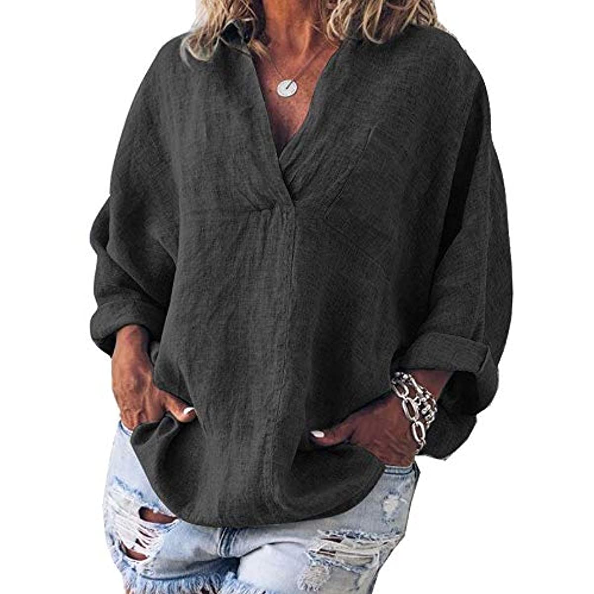 金額ホイットニー対処するMIFAN女性ファッション春夏チュニックトップス深いVネックTシャツ長袖プルオーバールーズリネンブラウス