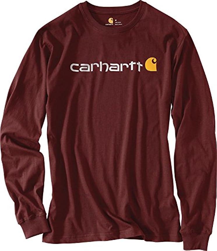 変化境界商品カーハート トップス シャツ Carhartt Men's Signature Logo Long Sleev Port [並行輸入品]