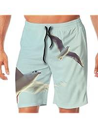 メンズ水着 ビーチショーツ ショートパンツ 飛ぶカモメ スイムショーツ サーフトランクス 速乾 水陸両用 調節可能