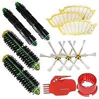 LOVE(TM)2ブラシのクリーニングツール&2毛ブラシ&2柔軟ビーターブラシ&3サイドブラシ6-武装&3フィルタはメガキットルンバ500シリーズルンバ510、530、535、540、560、570、580、610真空掃除ロボット全グリーンパック、赤、黒のクリーニングヘッド