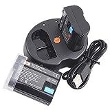 DSTE EN-EL15 バッテリー 2個 + 互換急速 デュアルUSB充電器 (2個同時充電可能) Nikon D500 D600 D800 D800E D810A D750 D850 D7000 D7..